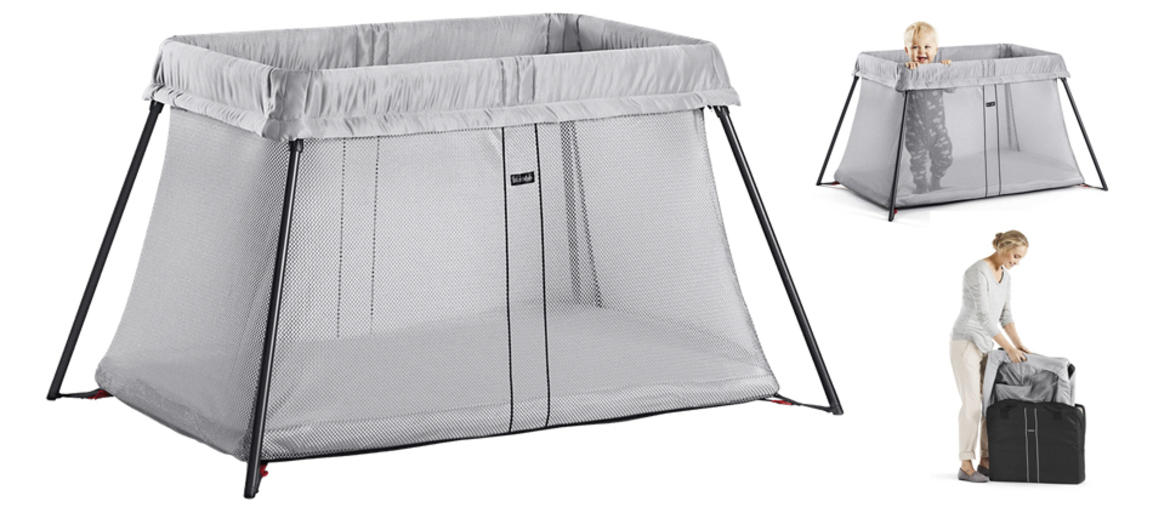 BabyBjörn travel cot in Silver